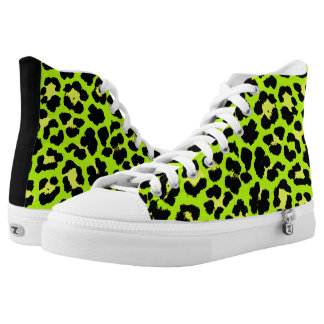 Lime Green Rockabilly Psychobilly Leopard Print High Tops