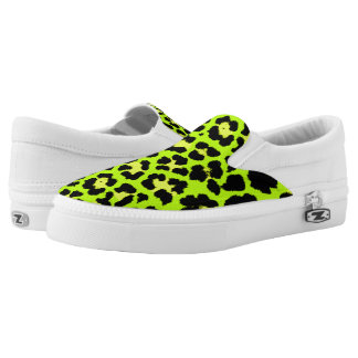Lime Green Rockabilly Psychobilly Leopard Print Slip-On Shoes