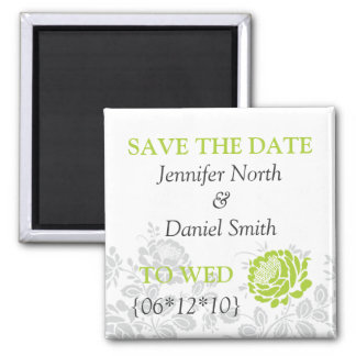 Lime Green Save The Dates Square Magnet