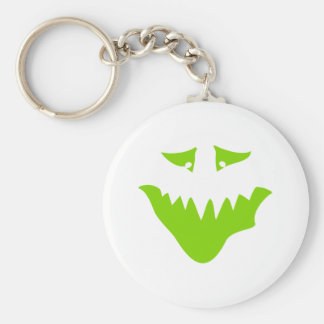 Lime Green Scary Face. Monster. Basic Round Button Key Ring