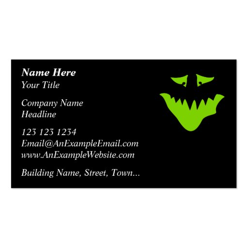 Lime Green Scary Face. Monster. Business Card