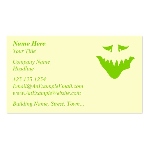 Lime Green Scary Face. Monster. Business Cards