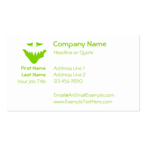 Lime Green Scary Face. Monster. Business Card Templates