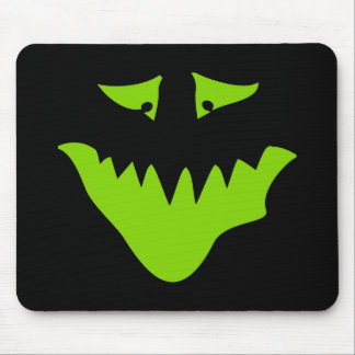 Lime Green Scary Face Monster Mousepad
