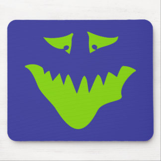 Lime Green Scary Face Monster Mouse Pads