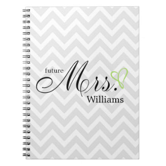 Lime Green Scribbled Heart Future Mrs Wedding Spiral Notebook