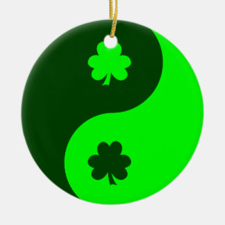 Lime Green Shamrock Yin Yang 2 Ceramic Ornament