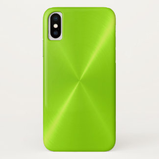 Lime Green Shiny Stainless Steel Metal iPhone X Case