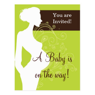 Lime Green Silhouette Baby Shower Postcards