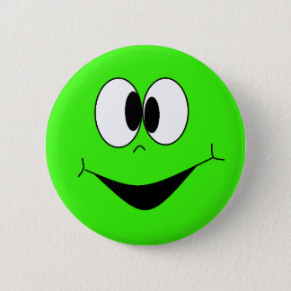 Lime Green Silly Googlie Eyes Smiley Face Button