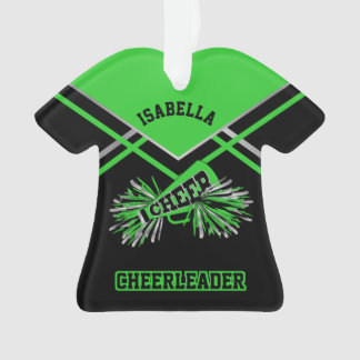 Lime Green, Silver and Black Cheerleader Ornament