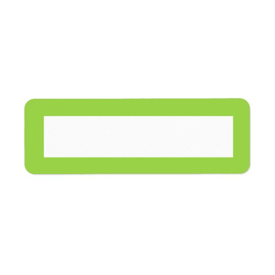 Lime green solid colour border blank return address label