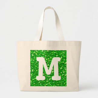 Lime Green Sparkly Faux Glitter Look Monogram Large Tote Bag