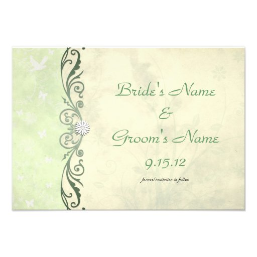 Lime Green Spring Floral Wedding Save the Date Personalized Announcement