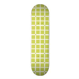 Lime Green Squares Geometric Pattern Skate Board Decks