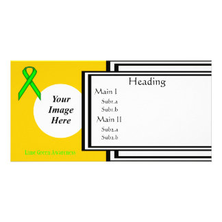 Lime Green Standard Ribbon Template Customised Photo Card