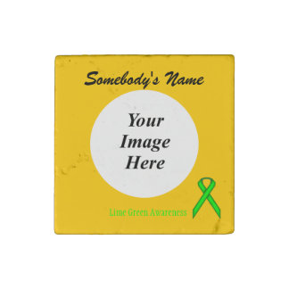 Lime Green Standard Ribbon Template Stone Magnet