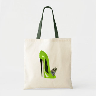 Lime green stiletto shoe and butterfly budget tote bag