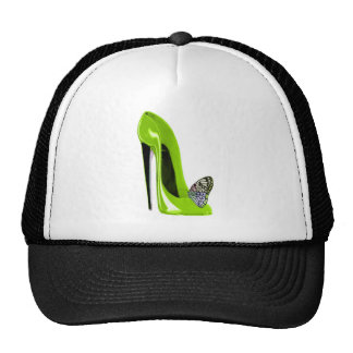 Lime Green Stiletto Shoe and Butterfly Cap