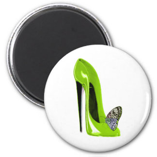 Lime Green Stiletto Shoe and Butterfly Magnet
