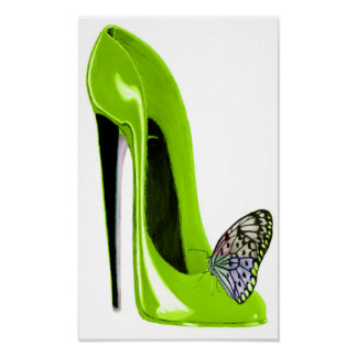 Lime green stiletto shoe and butterfly Print