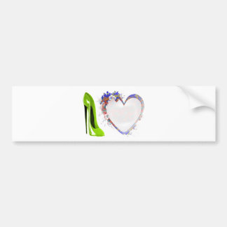 Lime Green Stiletto Shoe and Floral Heart Design Bumper Stickers