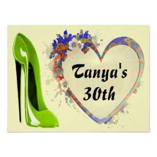 Lime Green Stiletto Shoe and Floral Heart Poster