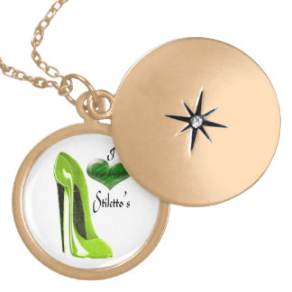 Lime Green Stiletto shoe and Heart Gold Necklace