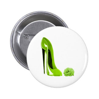 Lime Green Stiletto Shoe and Rose Button