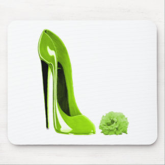 Lime Green Stiletto Shoe and Rose Mouse Pad