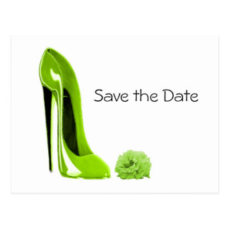 Lime Green Stiletto Shoe and Rose Postcard