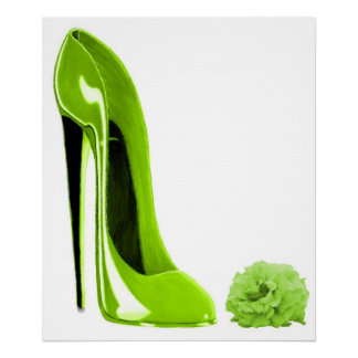 Lime Green Stiletto Shoe and RosePrint Poster