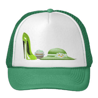 Lime Green Stiletto Shoe, Cupcake and Hat Art
