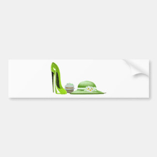Lime Green Stiletto Shoe, Cupcake and Hat Art Bumper Sticker