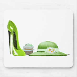 Lime Green Stiletto Shoe, Cupcake and Hat Art Mouse Pad