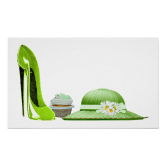 Lime Green Stiletto Shoe, Cupcake and Hat Poster