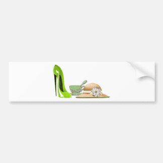 Lime Green Stiletto Shoe, Hat and Teacup Art Bumper Sticker