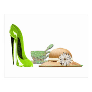 Lime Green Stiletto Shoe, Hat and Teacup Art Postcard