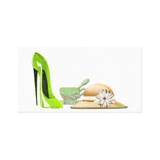 Lime Green Stiletto Shoe, Teacup and Hat Art Canvas Print