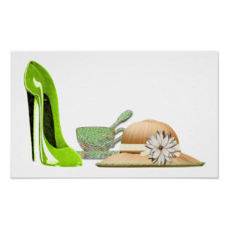 Lime Green Stiletto Shoe, Teacup and Hat Poster