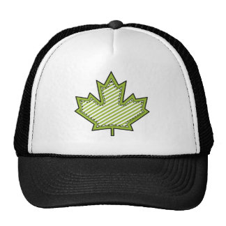 Lime Green Striped Applique Stitched Maple Leaf Cap