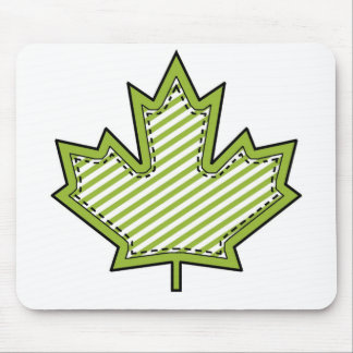 Lime Green Striped Applique Stitched Maple Leaf Mouse Pad