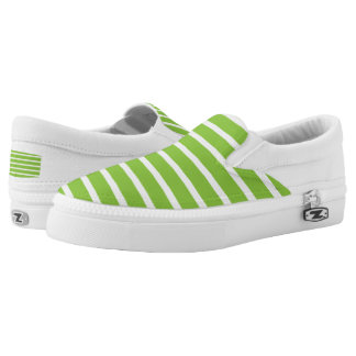 Lime Green Striped Zipz Slip On Shoes