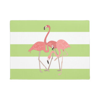 Lime Green Stripes and Flamingos Doormat