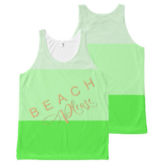 Lime Green Stripes  Beach Please Gold Glitter All-Over Print Singlet