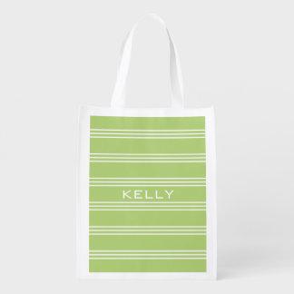 Lime Green Stripes custom monogram reusable bag