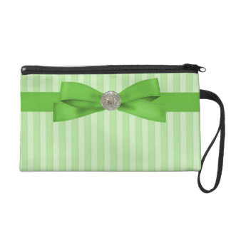 Lime Green Stripes Elegance With Bow Wristlet Purses