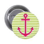 Lime Green Stripes Hot Pink Anchor Nautical 6 Cm Round Badge