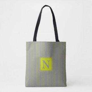 Lime Green Stripes on Dove Grey Monogram Tote Bag