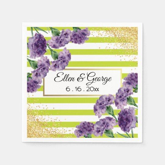 Lime Green Stripes Purple Carnations Gold Confetti Disposable Napkin
